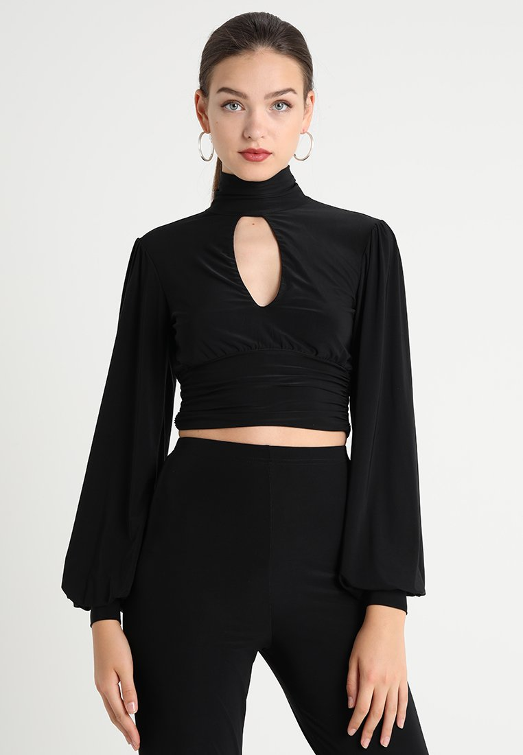 Club L London - SLINKY TIE BACK HIGH NECK  - Long sleeved top - black