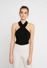 Club L London - CROSS WRAP HALTERNECK BODYSUIT - Top - black - 0