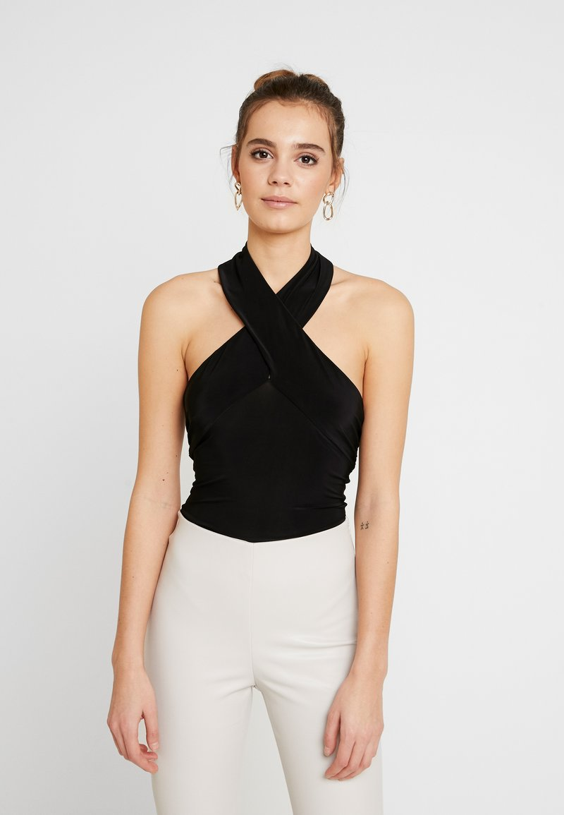 Club L London - CROSS WRAP HALTERNECK BODYSUIT - Top - black