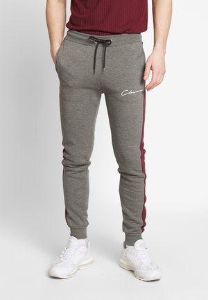 CONTRAST CUT SEW PANEL  - Tracksuit bottoms - port