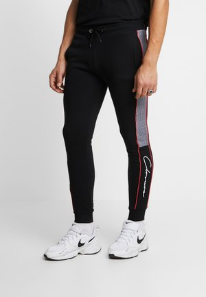 CUT SEW PIPED CHECKED - Tracksuit bottoms - black