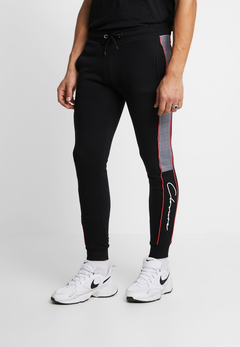 CLOSURE London - CUT SEW PIPED CHECKED - Pantaloni sportivi - black