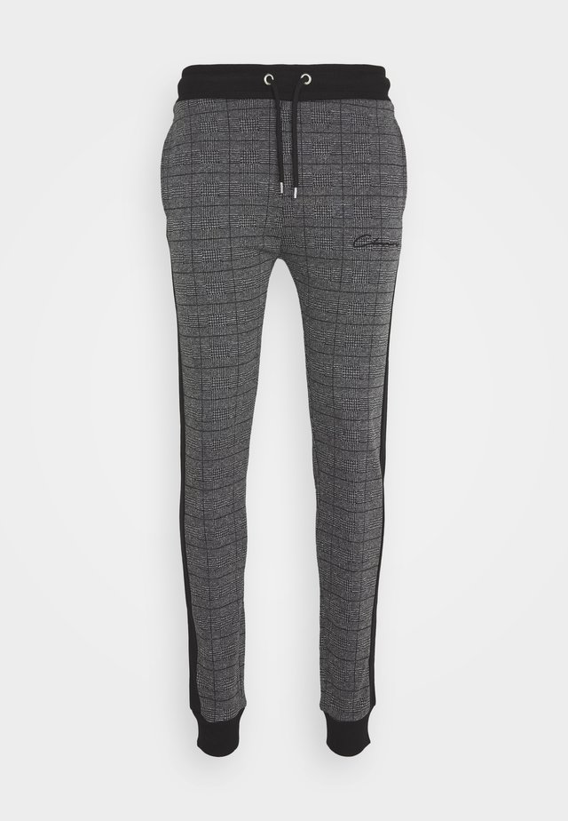 CHECKED JOGGER - Tracksuit bottoms - black