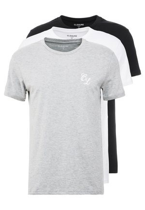 TEES 3 PACK - T-shirts med print - white/black/grey