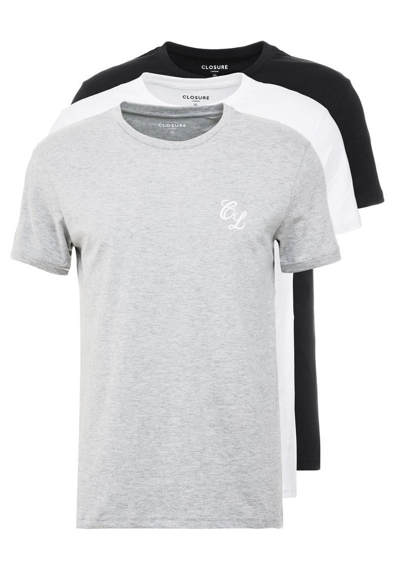 CLOSURE London - TEES 3 PACK - T-shirts med print - white/black/grey