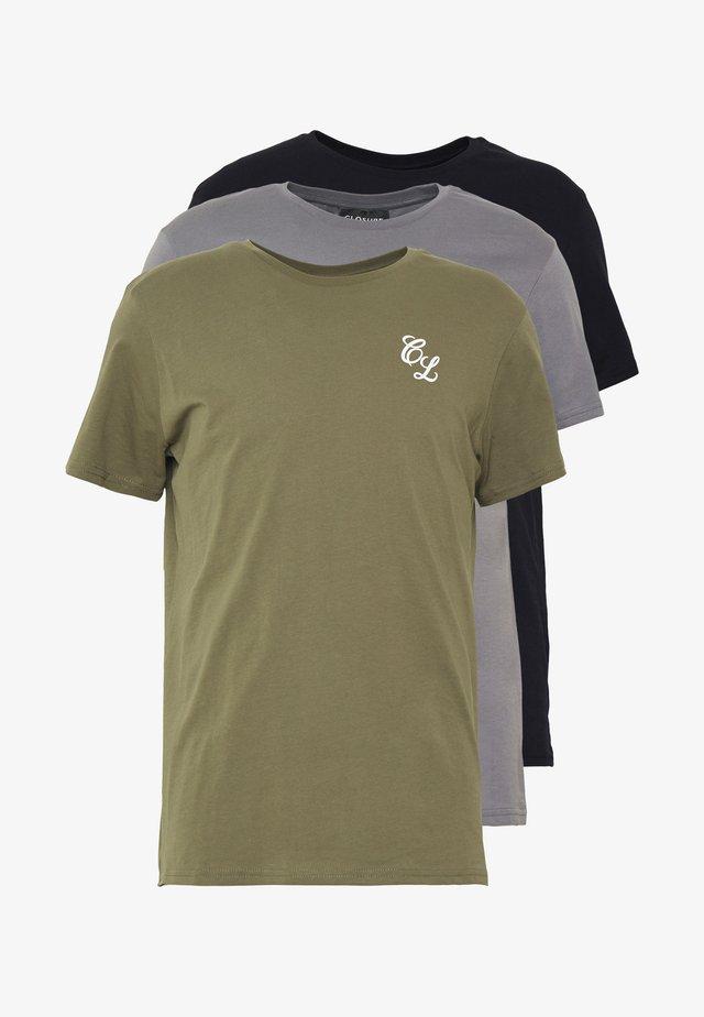 SIGNATURE TEE 3 PACK - Basic T-shirt - grey/khaki/black