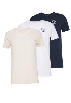 SIGNATURE TEE 3 PACK - T-shirt basic - white/stone/navy