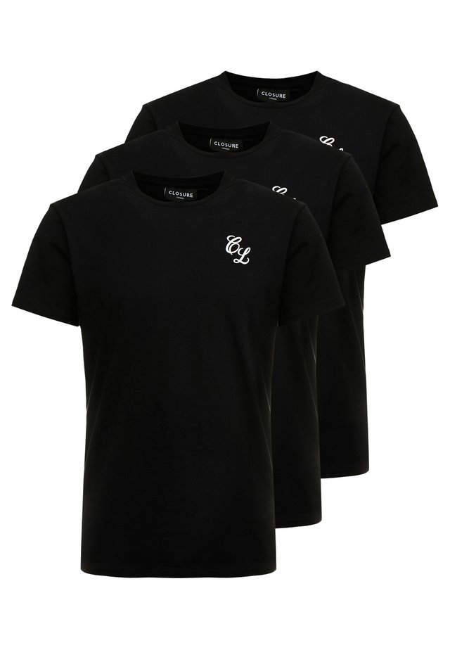 SIGNATURE TEE 3IPACK - T-shirt - bas - black