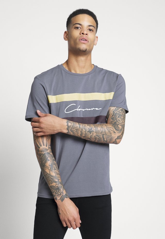 BAND STRIPE TEE - T-shirt print - grey