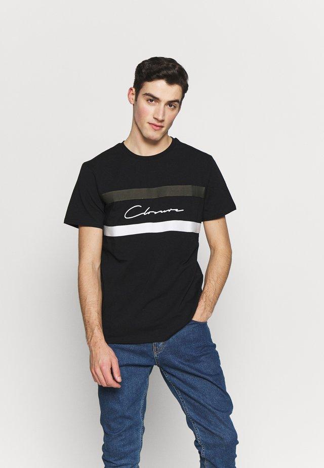 BAND STRIPE TEE - T-shirt z nadrukiem - black