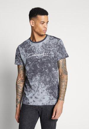 WASHED ACID EFFECT TEE - T-Shirt print - black