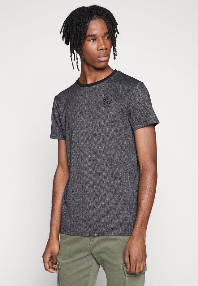 TEXTURED STRIPE TEE - Print T-shirt - grey