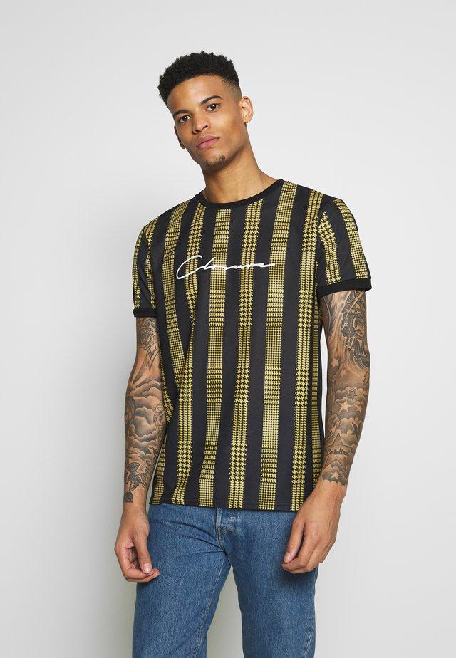 STRIPED CHECK TEE - T-shirt med print - mustard