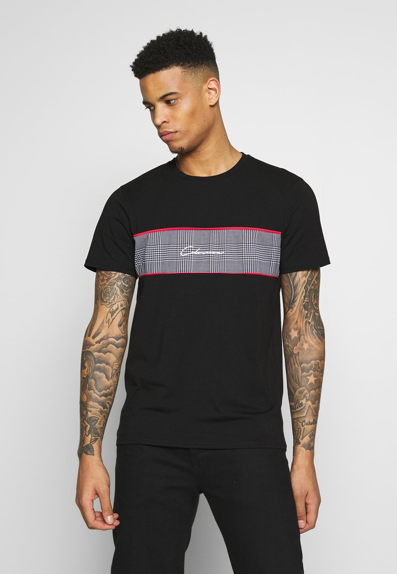 CLOSURE London - PIPED CHECKED TEE - Printtipaita - black