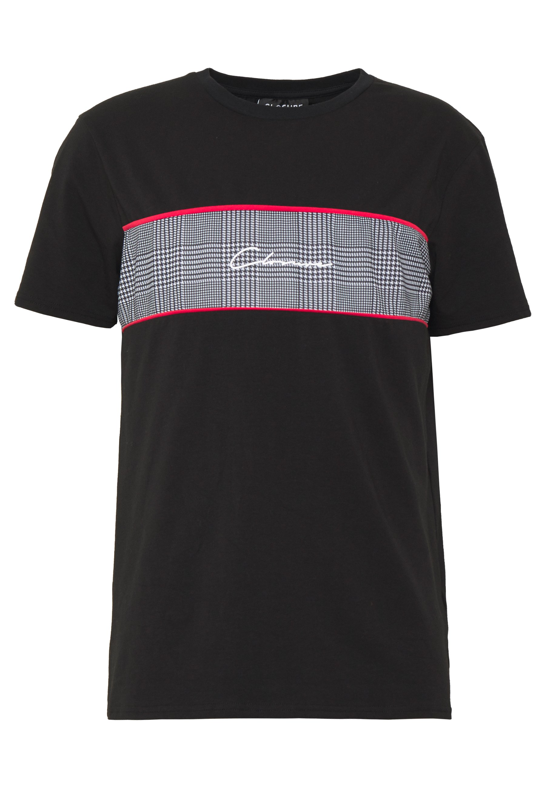 CLOSURE London PIPED CHECKED TEE - T-shirt z nadrukiem - black
