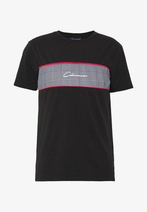 PIPED CHECKED TEE - Camiseta estampada - black