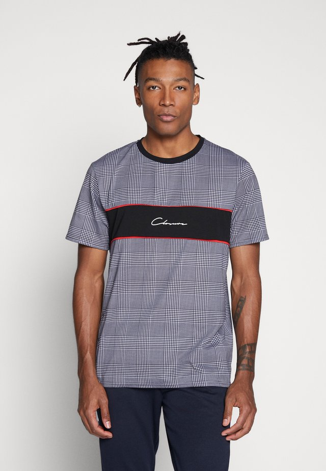 CUT N SEW CHECKED TEE - T-shirt med print - black