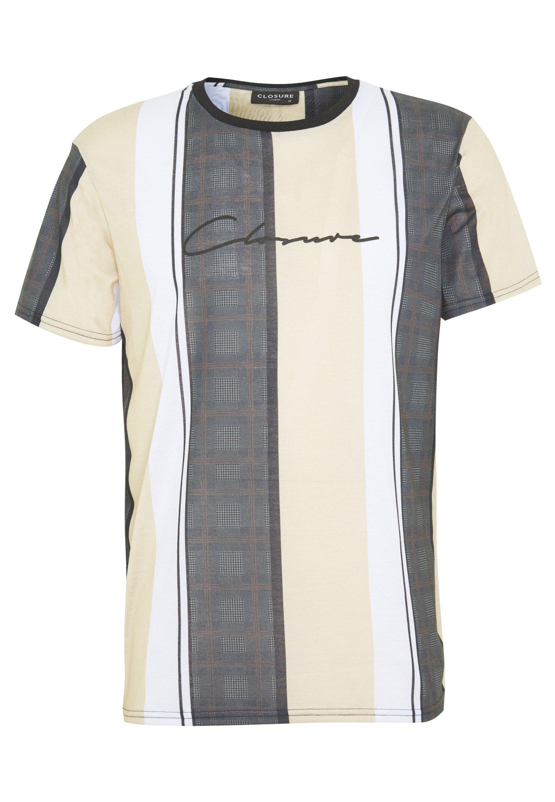 CLOSURE London TEXTURED STRIPED TEE - T-shirt z nadrukiem - stone