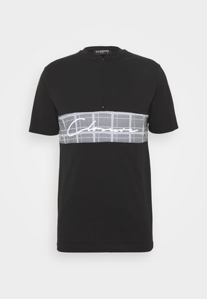 BAND ZIP CHECKED TEE - T-shirt con stampa - black
