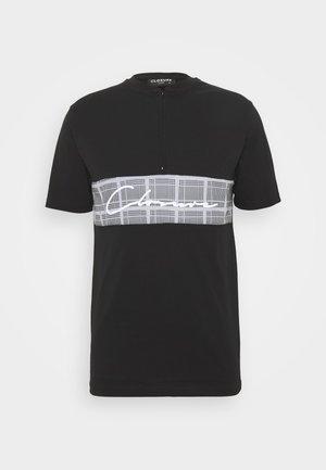 BAND ZIP CHECKED TEE - Camiseta estampada - black