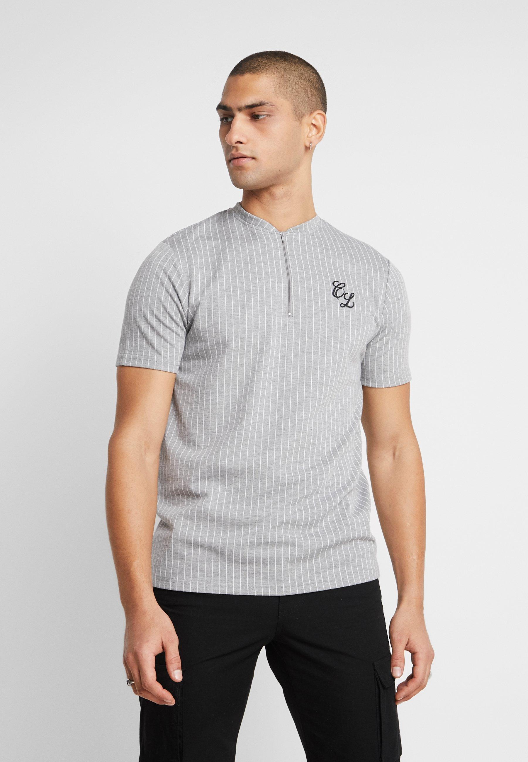 CLOSURE London PIN STRIPE ZIP TEE - T-shirt z nadrukiem - grey