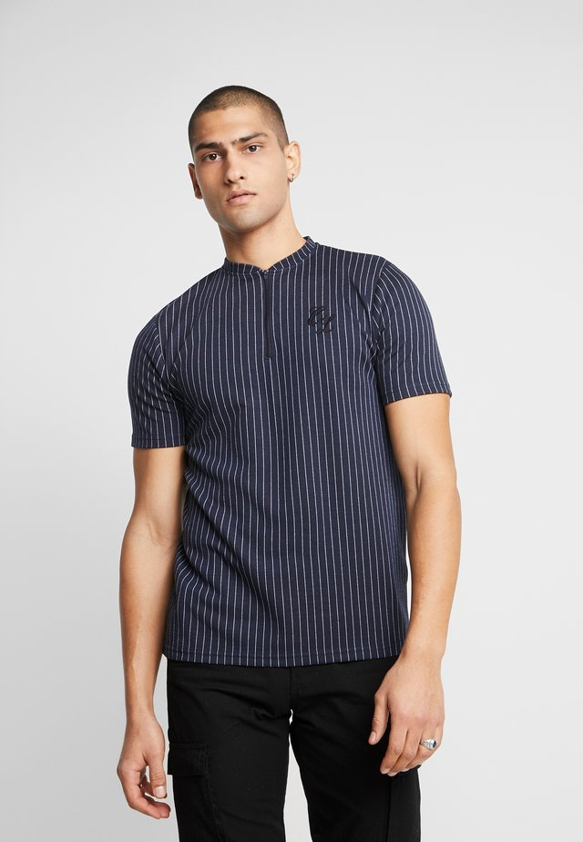 PIN STRIPE ZIP TEE - T-shirt print - navy