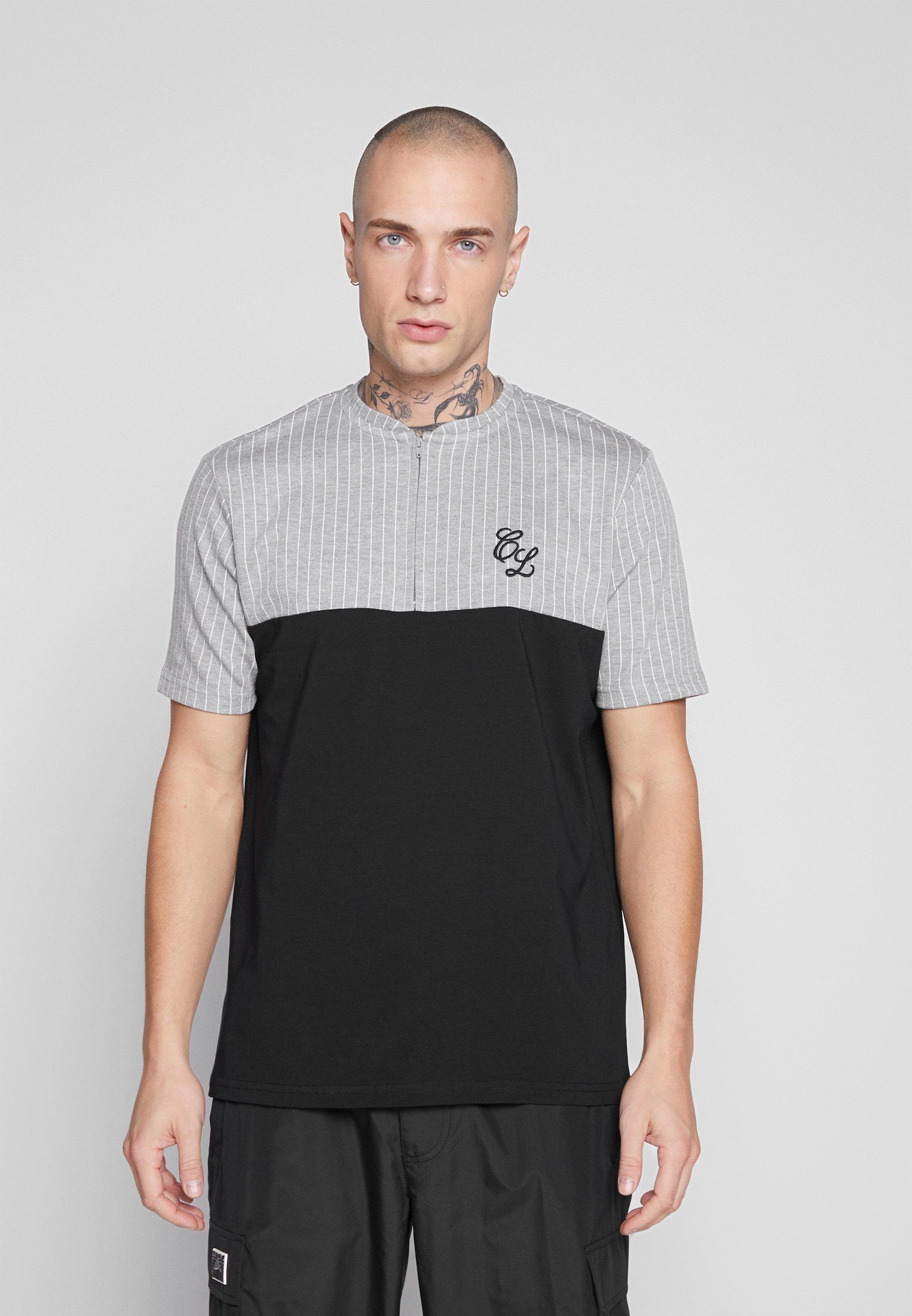 CLOSURE London CONTRAST STRIPE TEE - T-shirt z nadrukiem - grey