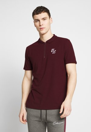 TONAL STRIPE ZIP TEE - Polo - port