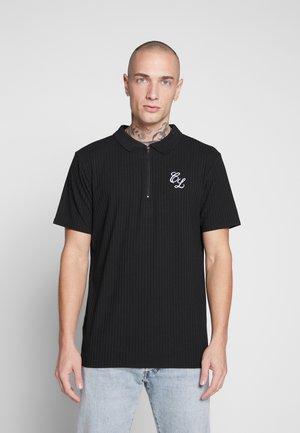 TONAL STRIPE ZIP TEE - Polo shirt - black