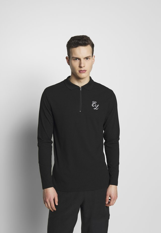 TONAL ZIP SLEEVED - Piké - black