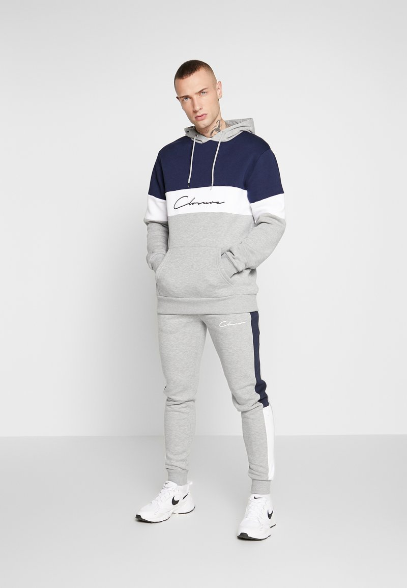 CLOSURE London - TRACK SUIT - Mikina s kapucí - grey/white/navy