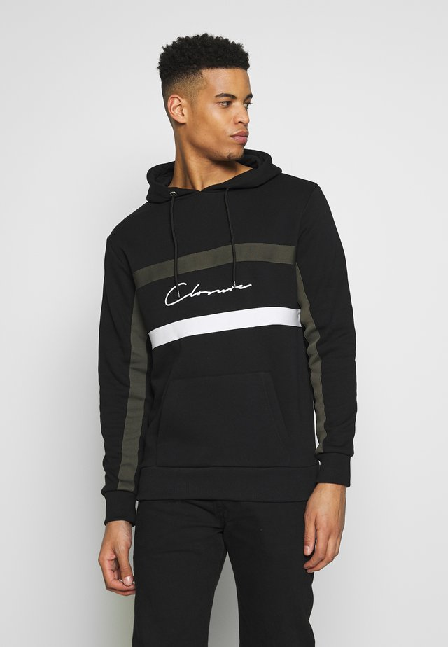 BAND STRIPE HOODY - Jersey con capucha - black