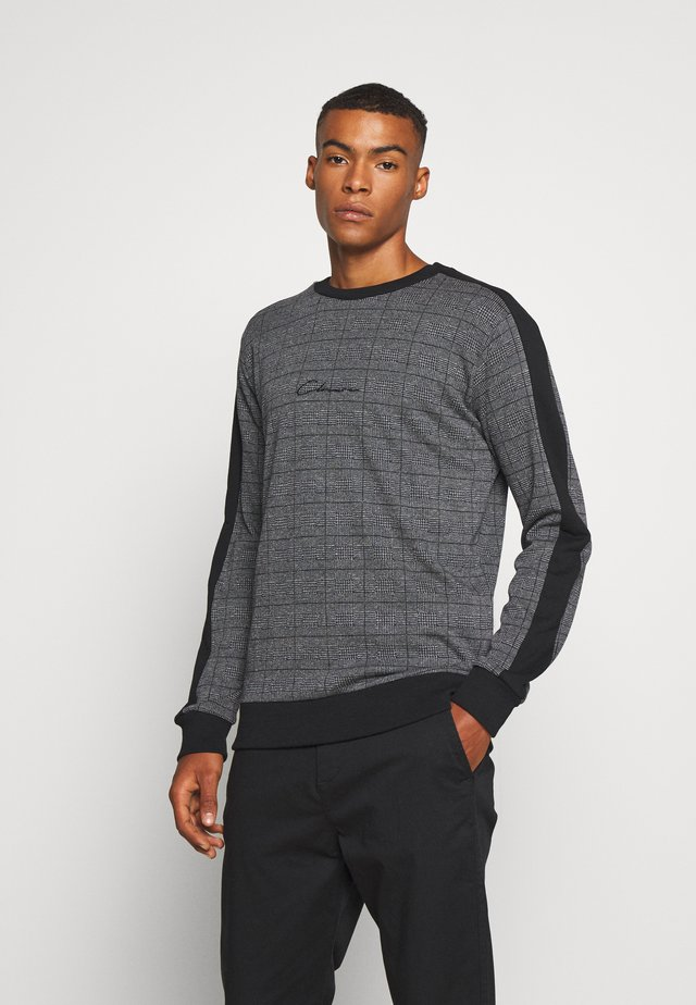 CHECKED CREWNECK - Sweatshirt - black