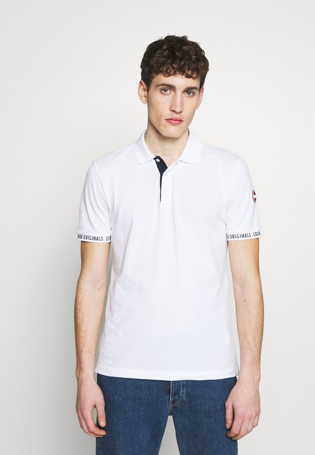 MEN SOLID COLOR - Polo - white/navy blue