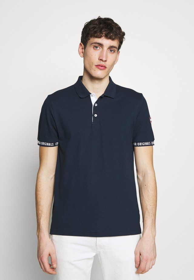 MEN SOLID COLOR - Koszulka polo - navy blue/white