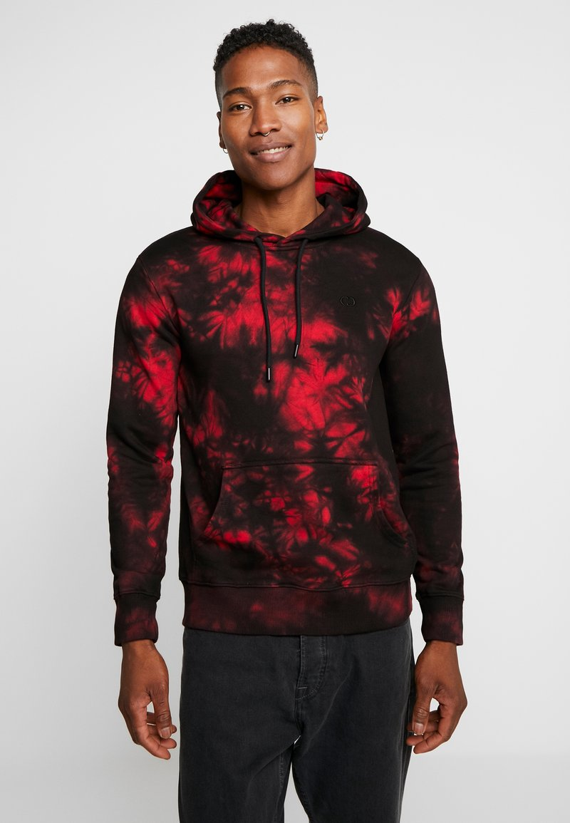 Criminal Damage - DYE HOOD - Jersey con capucha - black/red