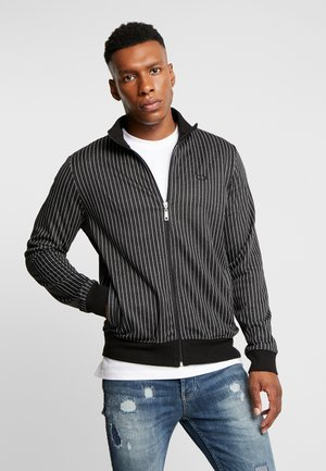 PINSTRIPE TRACK - Zip-up hoodie - black/white