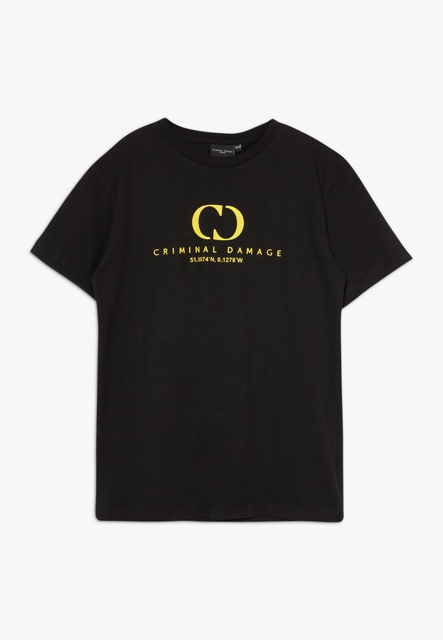 ORDINATE TEE - Camiseta estampada - black/reflective yellow