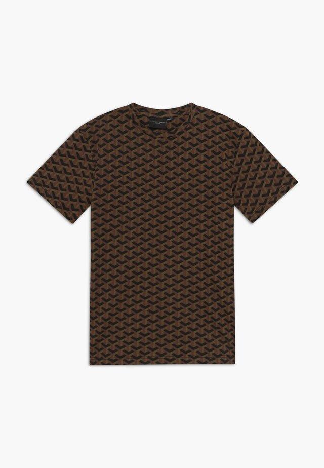 LOUVRE TEE - Triko spotiskem - black/brown