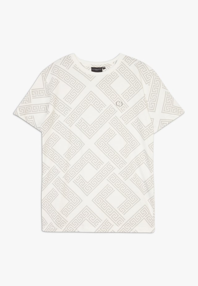 ROMAN TEE - T-shirts med print - offwhite/brown