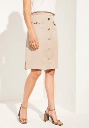 ROCK MIT ZIERKNOPF-LEISTE - A-line skirt - dark sand