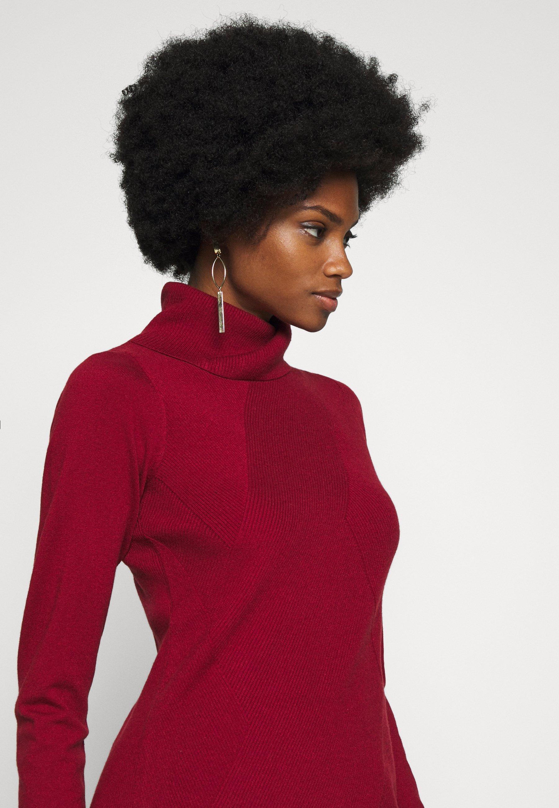 comma DRESS SHORT - Gebreide jurk - scarlet red