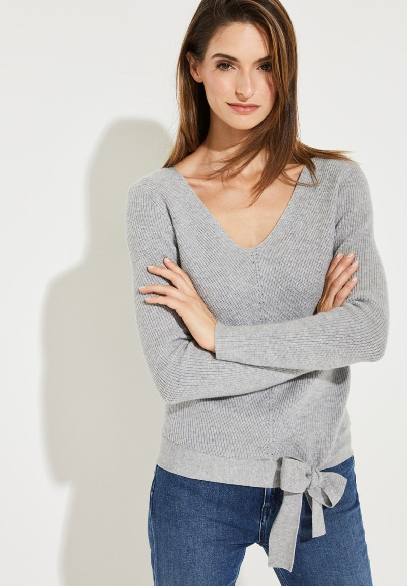 comma - MIT ZIERSCHLEIFE - Jumper - grey melange