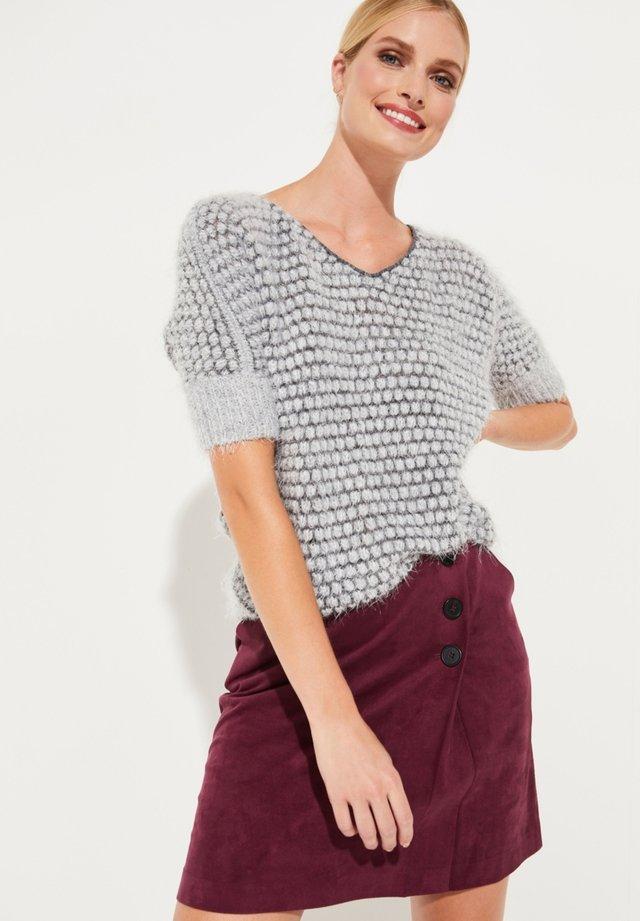 MIT WABENMUSTER - T-shirt imprimé - grey hairy yarn