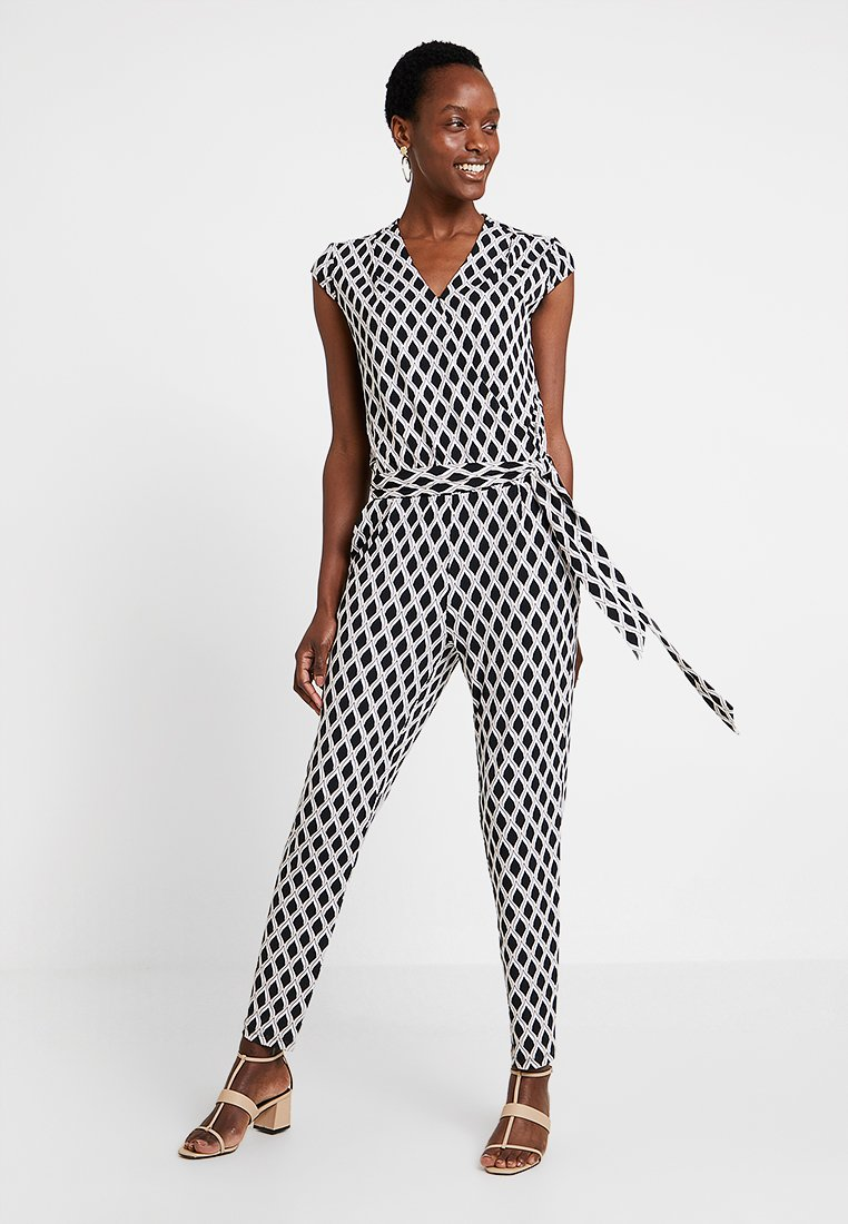 comma - OVERALL - Jumpsuit - black/white