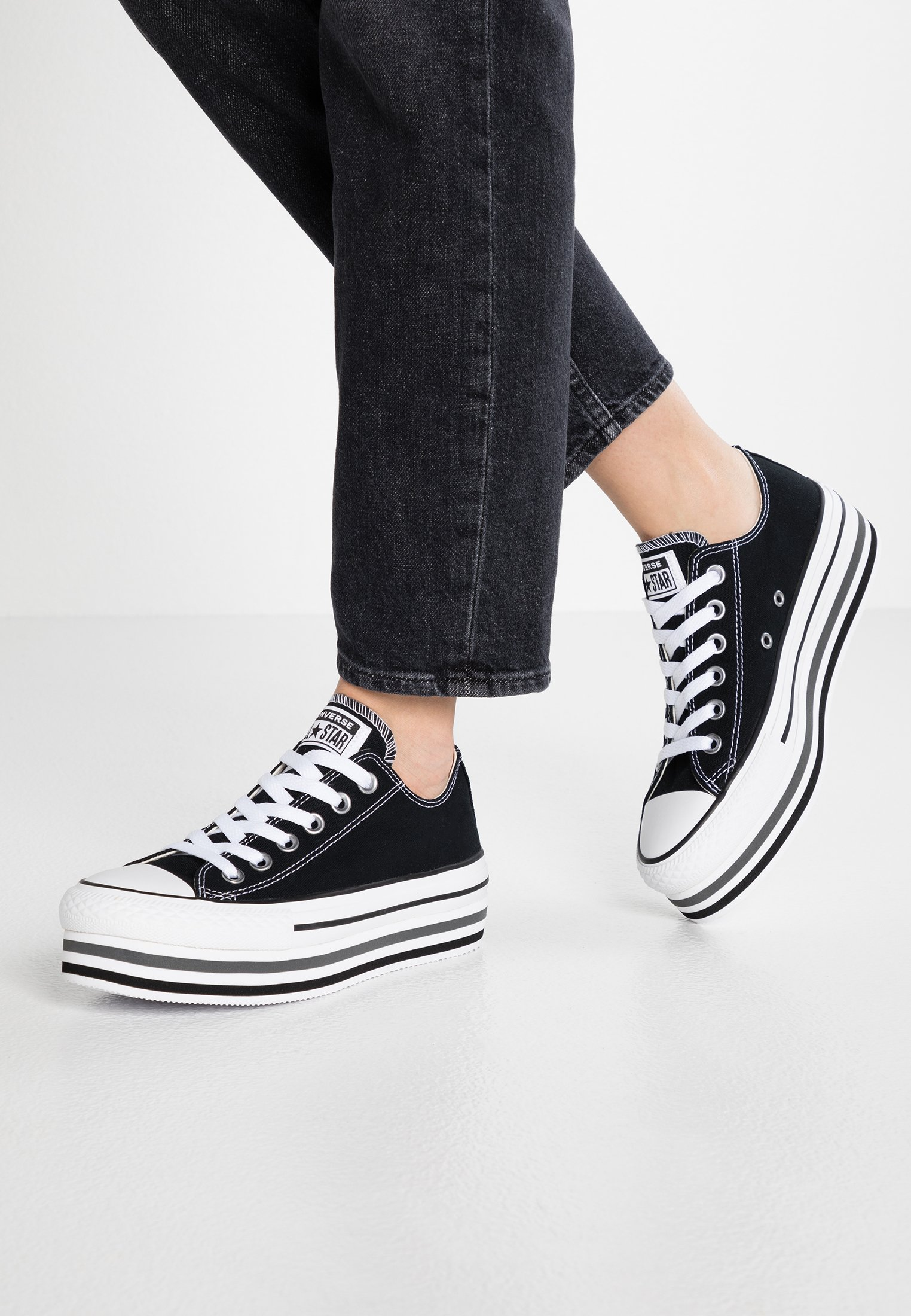 Converse CHUCK TAYLOR ALL STAR PLATFORM LAYER - Sneakers basse black/white/thunder