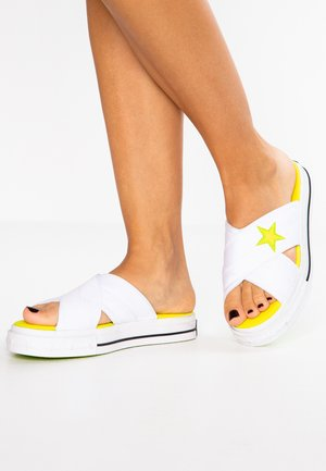 ONE STAR - Pantolette flach - white/fresh yellow/bold lime