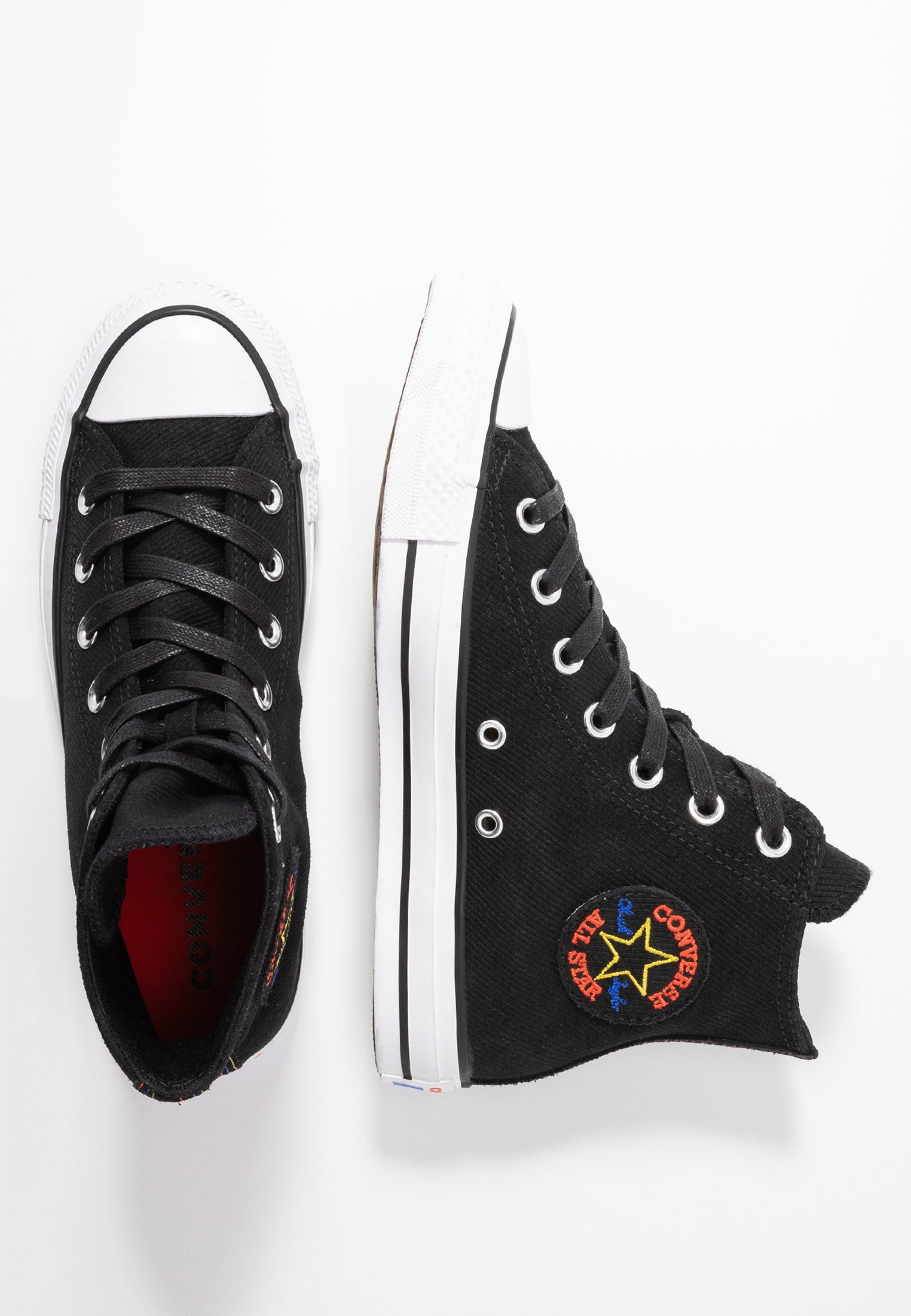 Converse CHUCK TAYLOR ALL STAR RETROGRADE - Sneakers high - black/habanero red/white i5PAW