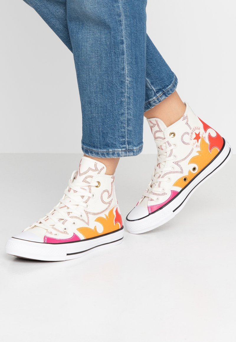 Converse - CHUCK TAYLOR ALL STAR FASHION WEEK CAPSULE - High-top trainers - egret/habanero red/orange rind
