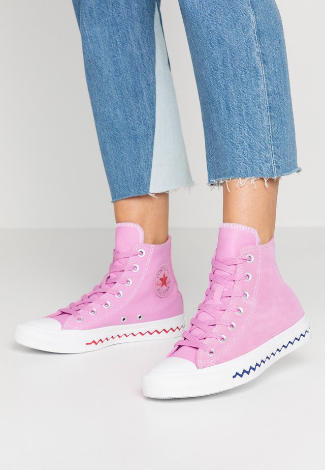 CHUCK TAYLOR ALL STAR TONGUE - Høye joggesko - peony pink/university red/rapid teal